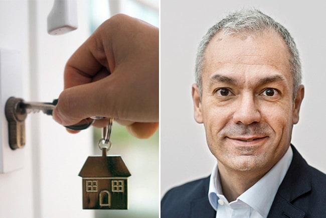Kollage hand som håller på att låsa upp en dörr och Swedbank och sparbankernas privatekonom Arturo Arques
