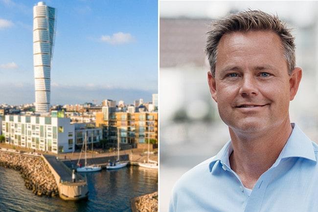 Kollage vy över Malmös hamn och höghuset Turning Torso och Robert Boije chefsekonom på SBAB