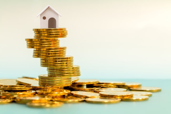 minihus på en hög av guldmynt