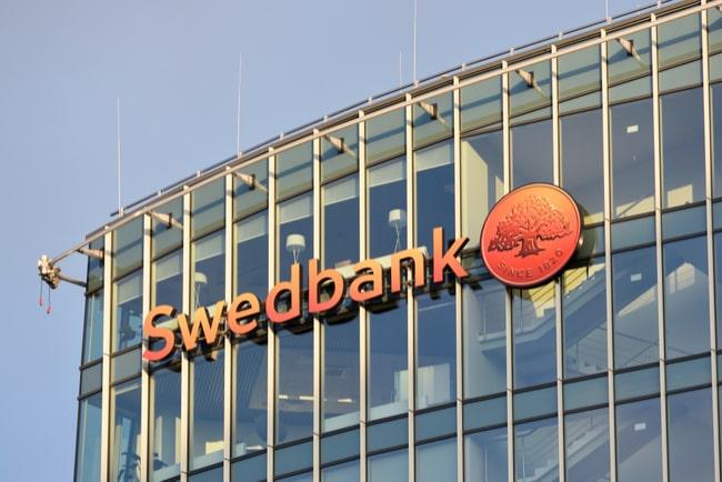 fasad med swedbanks logga i vilnius