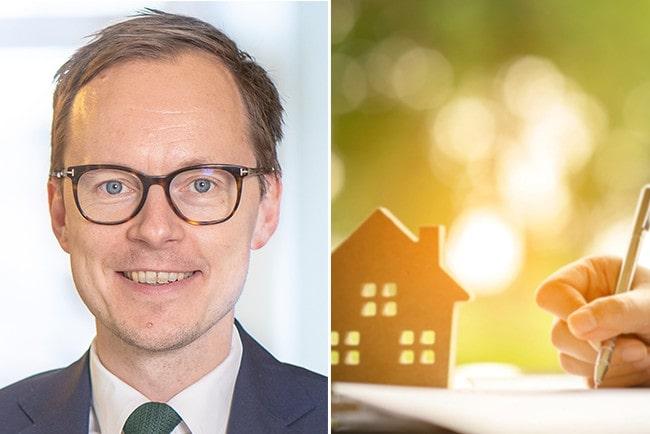 Kollage Mats Persson från Liberalerna, ett miniatyrhus i trä och en hand som skriver på ett kontrakt.
