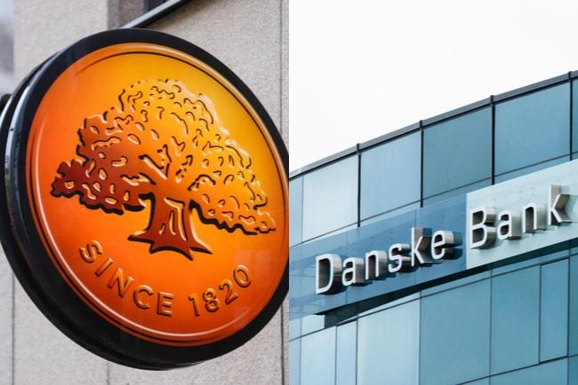 skylt med swedbanks logotyp och fasad med skylten danske bank