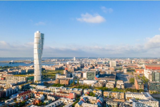 Panoramavy över Malmö och Turning Torso