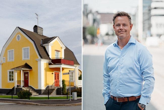 Kollage gul villa och Robert Boije, chefsekonom SBAB.
